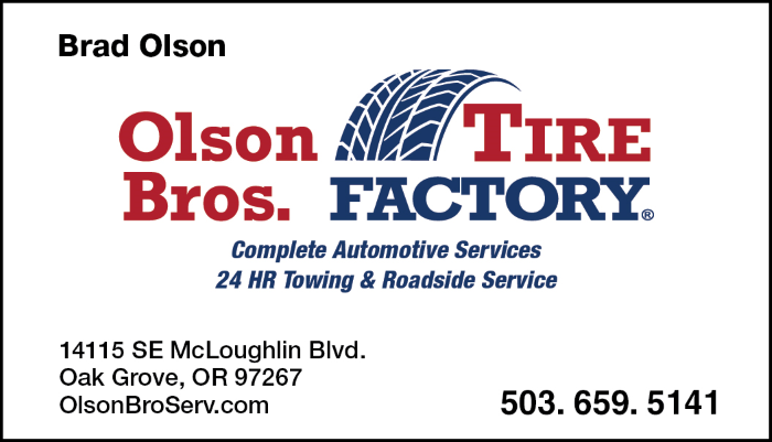 Olson Bros. Tire Factory Business Card