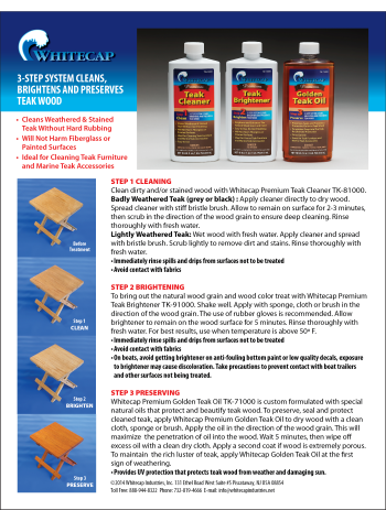 Instruction Sheet for Teak Maintenance Products
